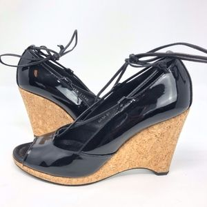 Donald J Pliner | Patent Leather Cork Wedge Lace
